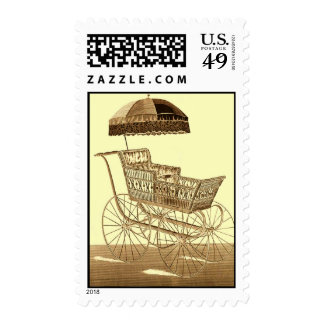 Antique Baby Carriage ~ Vintage Advertising ~ 1891 Stamp