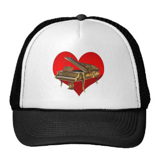 Antique Baby Grand Piano Red Heart Trucker Hat