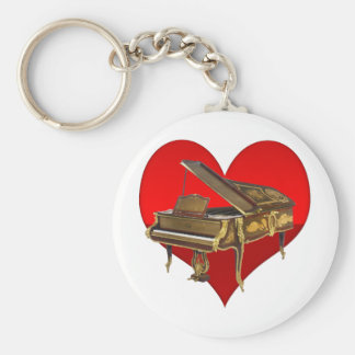 Antique Baby Grand Piano Red Heart Keychain