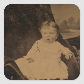 Antique Baby With Tinted Cheeks Square Sticker