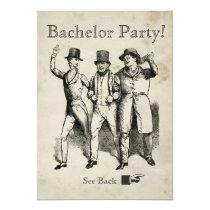 Antique Bachelor Party Men Dressed 1800's Attire Card