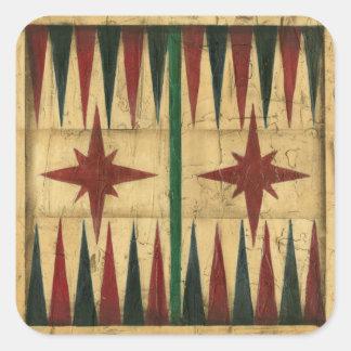 Antique Backgammon Game Board by Ethan Harper Square Sticker