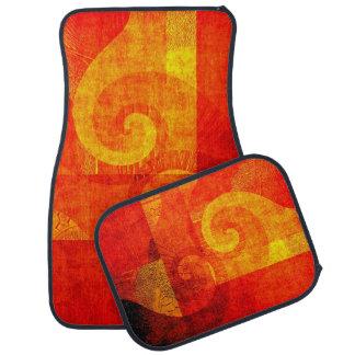 Antique Background Spirals orange Car Mat