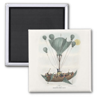 Antique Balloon Air Ship 2 Inch Square Magnet