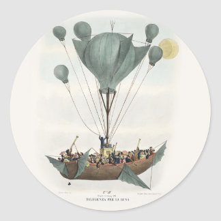 Antique Balloon Air Ship Classic Round Sticker