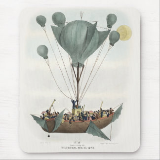 Antique Balloon Air Ship Illustration Artwork Mouse Pad