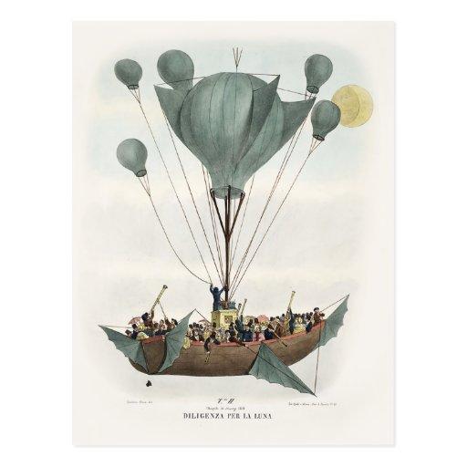 Antique Balloon Air Ship Postcard