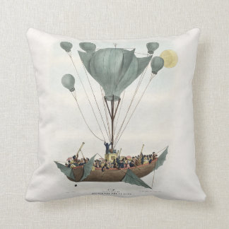Antique Balloon Air Ship Throw Pillow