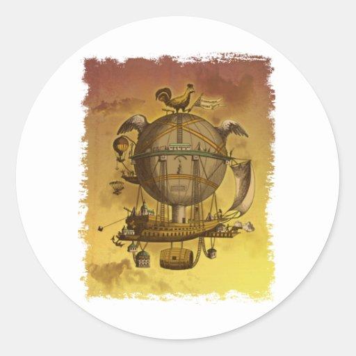 Antique Balloon Classic Round Sticker