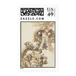 Antique baroque molding postage stamp