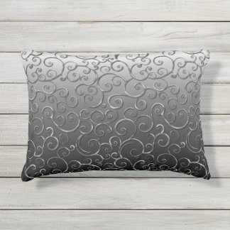 Antique Baroque Ornate Faux Silver Swirl Pattern Outdoor Pillow