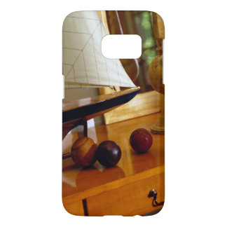 Antique Baseballs On A Table By A Model Sailboat Samsung Galaxy S7 Case