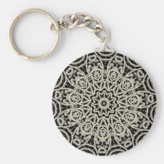 Antique Battenburg Lace Basic Round Button Keychain