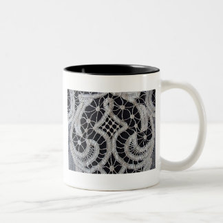 Antique Battenburg Tape Lace Two-Tone Coffee Mug