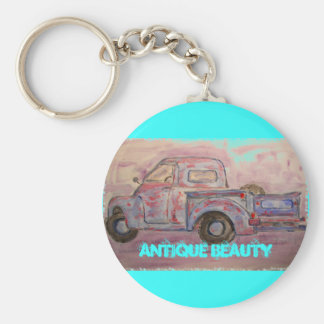 antique beauty blue patina truck basic round button keychain