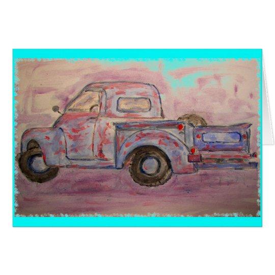 antique beauty blue patina truck card