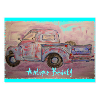 antique beauty blue patina truck large business card