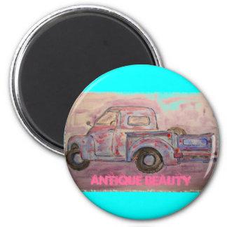 antique beauty blue patina truck magnet
