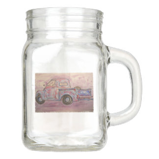 antique beauty blue patina truck mason jar