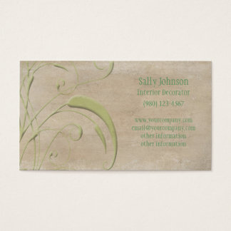 Antique Beige and Green Leaves Business Cards