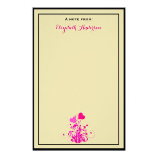 Antique beige with Pink Decorative Hearts Stationery