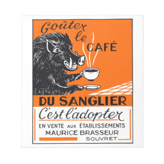 Antique Belgian Coffee Boar Advertising Notepad