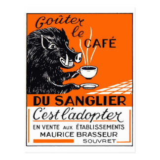 Antique Belgian Coffee Boar Advertising Postcard