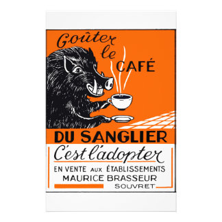 Antique Belgian Coffee Boar Advertising Stationery