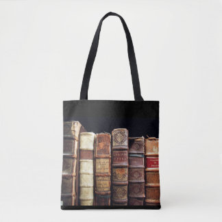 Antique Bibliophile Leather Binding books Tote Bag