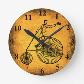 Antique Bicycle and Cyclist Wall Clock