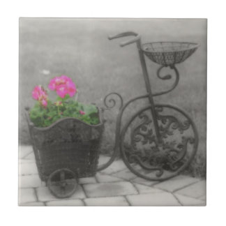 Antique Bicycle And Flowers In Black And White Ceramic Tile