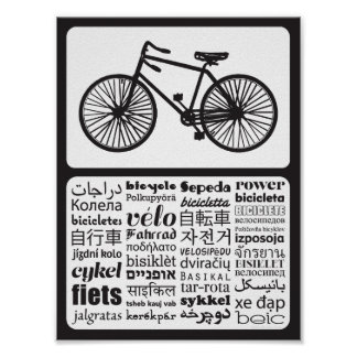 Antique Bicycle - Bicycle in Different Languages Poster