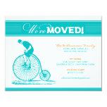 "Antique Bicycle Family Moving Announcement (aqua) 4.25"" X 5.5"" Invitation Card"