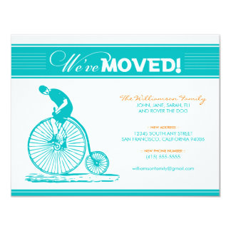 "Antique Bicycle Family Moving Announcement (aqua) 4.25"" X 5.5"" Invitation Card"