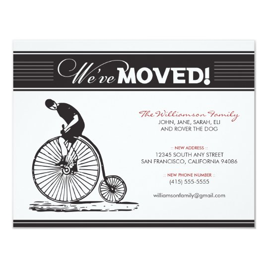 Antique Bicycle Family Moving Announcement (black)