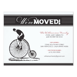 "Antique Bicycle Family Moving Announcement (black) 4.25"" X 5.5"" Invitation Card"