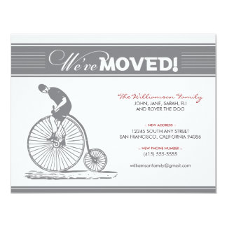 "Antique Bicycle Family Moving Announcement (grey) 4.25"" X 5.5"" Invitation Card"