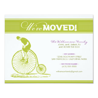 "Antique Bicycle Family Moving Announcement (lime) 4.25"" X 5.5"" Invitation Card"