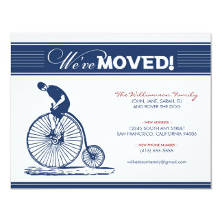"Antique Bicycle Family Moving Announcement (navy) 4.25"" X 5.5"" Invitation Card"