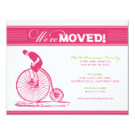 """Antique Bicycle Family Moving Announcement (pink) 4.25"""" X 5.5"""" Invitation Card"""