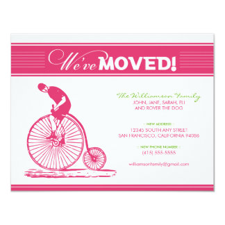 "Antique Bicycle Family Moving Announcement (pink) 4.25"" X 5.5"" Invitation Card"