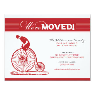 "Antique Bicycle Family Moving Announcement (red) 4.25"" X 5.5"" Invitation Card"