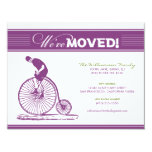 """Antique Bicycle Moving Announcement (purple) 4.25"""" X 5.5"""" Invitation Card"""