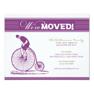 "Antique Bicycle Moving Announcement (purple) 4.25"" X 5.5"" Invitation Card"