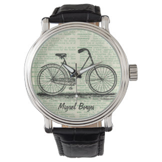 Antique Bicycle Vintage Book Page Art Green Custom Wrist Watch