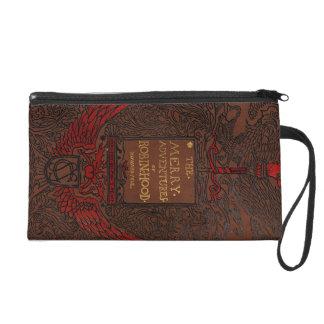 Antique Binding Robin Hood Book Cover Wristlet Clutches