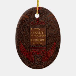Antique Binding Robin Hood Book Cover Ceramic Ornament