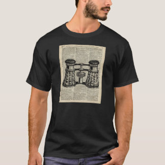 Antique Binoculars On Old Vintage Dictionary Page T-Shirt