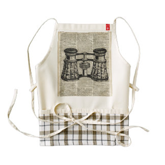 Antique Binoculars On Old Vintage Dictionary Page Zazzle HEART Apron