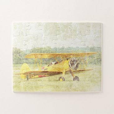 Antique Biplane Airplane Take Off Oversized Jigsaw Puzzle